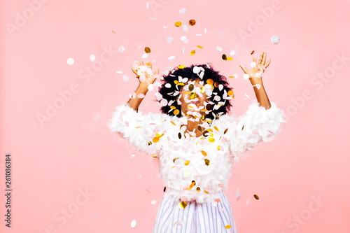 Obraz Confetti throw- celebrate success and happiness - fototapety do salonu