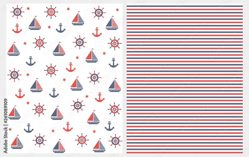 Lovely Nautical Vector Patterns Set. Boats, Anchors, Helms and Stars Isolated on a White Background. Red and Blue Stripes Pattern. Marine Party  Repeatable Design. Abstract Nautical Theme Decoration.