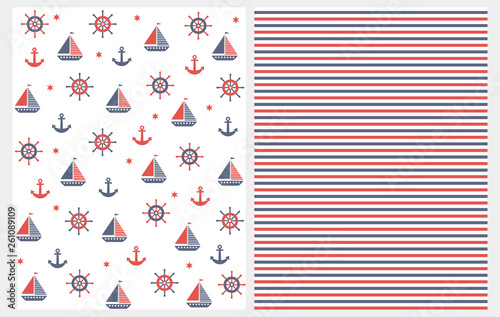 Fotografie, Obraz  Lovely Nautical Vector Patterns Set