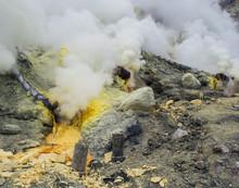 Sulfur Field With Steam Eruption