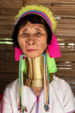 Portrait Of Long Neck Tribal Woman From Thailand