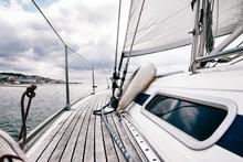 Detail Of Stylish Yacht At Sea