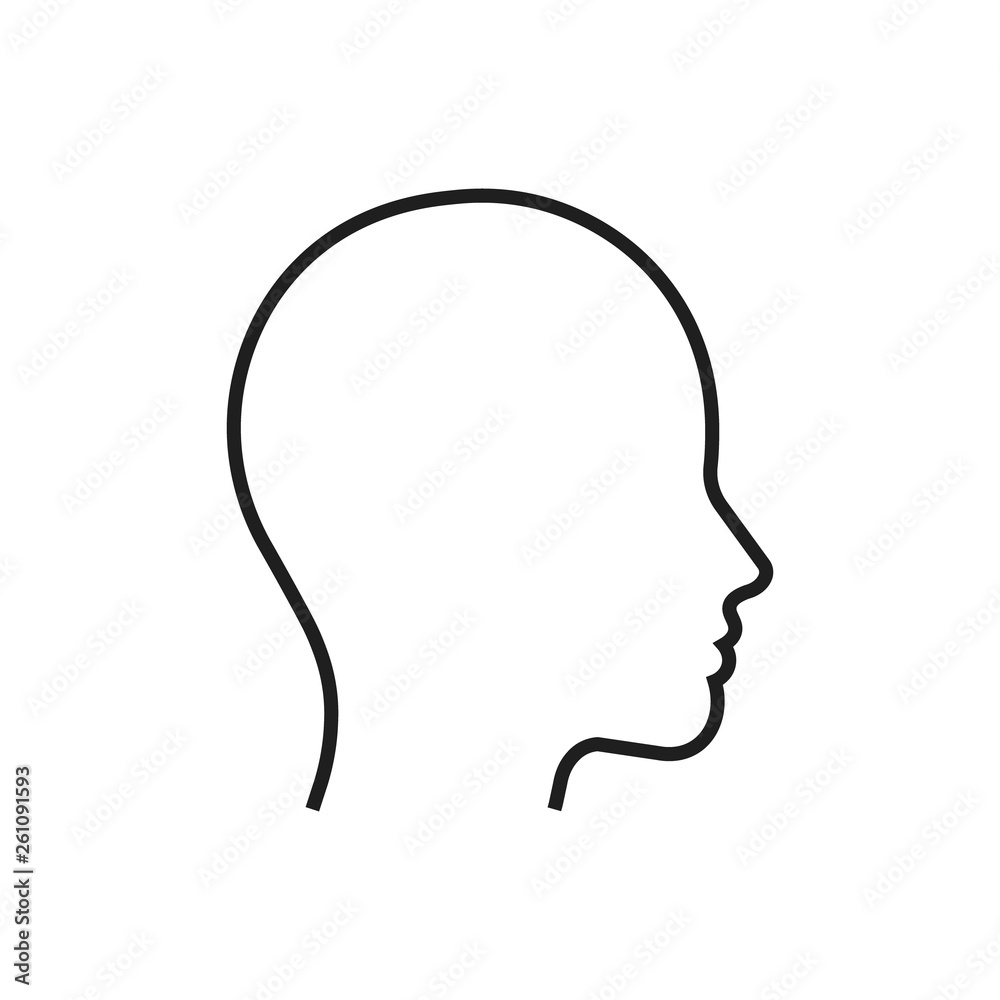 Fototapeta Head line silhouette. Profile contour. Vector illustration.