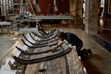 Restoration Of A Very Old Boat In A Museum