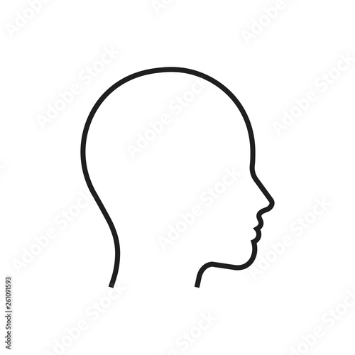 Fototapeta Head line silhouette. Profile contour. Vector illustration.