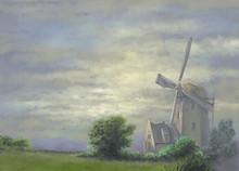Oil Paintings Landscape. Fine  Art, Dutch Windmill In Holland
