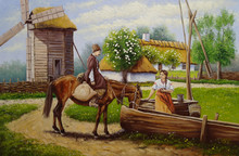 Oil Painting, Rural Landscape. Cossack On A Horse And A Girl Near A Well.