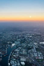 Melbourne City And The Yarra River At Twilight From The Air