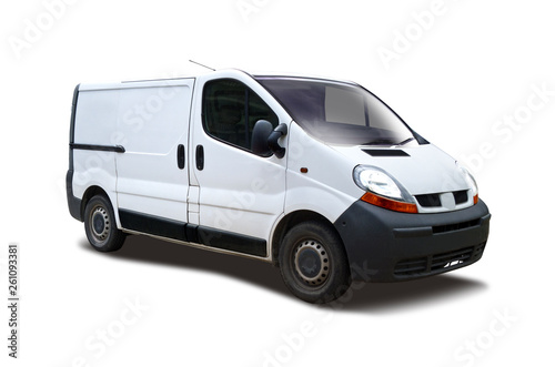 Foto White van side view isolated on white