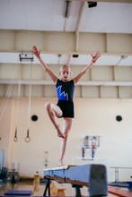 Gymnastics, Young Girl Practic...