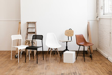 Chairs And Props In Modern White Industrial Photo Studio