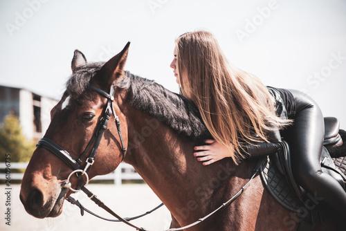 Woman on a horse at rancho Fotobehang
