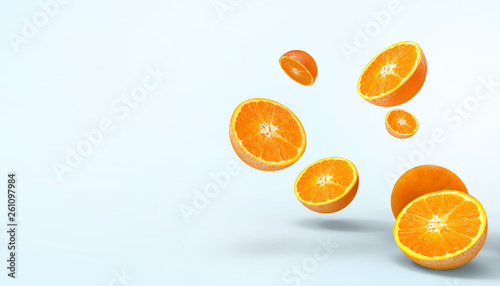 Orange slices fruit fresh Concept Summer - holidays and artwork Creative on pastel blue background - 3d rendering - 261097984