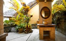 Tropical Indoor/outdoor Bathroom