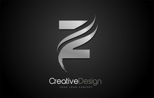 Silver Metal Z Letter Logo Design Brush Paint Stroke Artistic Black Background