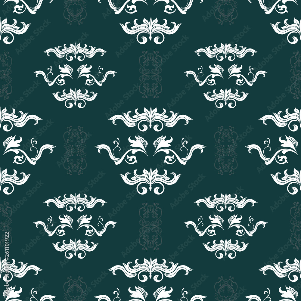 Damask hand drawn color seamless pattern. Vintage flourish ornate texture. Abstract filigree elements decorative background. Baroque style textile, wallpaper, wrapping paper retro vector design