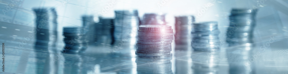 Fototapeta Industry Business banner background. Coins on table. Finance concept.