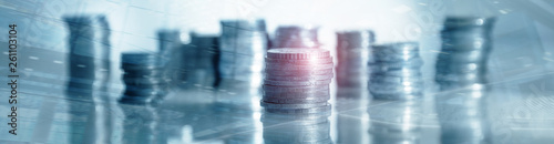 Obraz Industry Business banner background. Coins on table. Finance concept. - fototapety do salonu