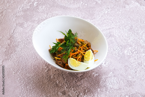 Fotografie, Obraz  Vegetarian salad with carrot, mushrooms, egg and sea kale