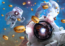 Astronauts In Outer Space With Cheseburgers On The  Pillar Of Creation And The Moon On The Background. Elements Of This Image Furnished By NASA