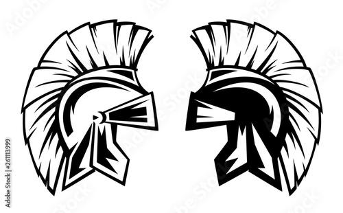 Fotografie, Obraz spartan warrior helmet black and white vector design - ancient Greek military sy