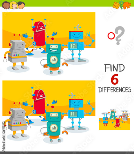 Fotografie, Obraz  differences game with cute cartoon robots