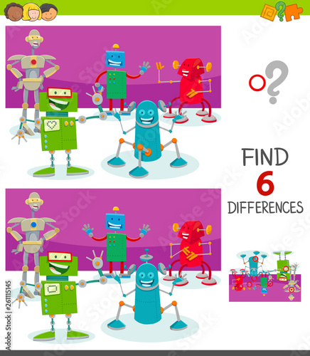 Fotografie, Obraz  differences game with funny cartoon robots