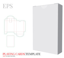 Playing Cards Template And Playing Cards Box Template Vector With Die Cut / Laser Cut Lines. White, Clear, Blank, Isolated Playing Cards Box Mock Up On White Background With Perspective View