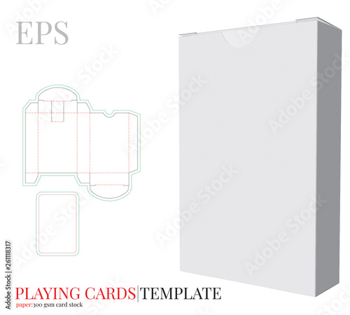 Playing Cards Template And Playing Cards Box Template Vector