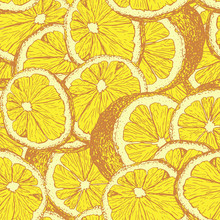 Yellow Lemons Hand Drawn Seamless Pattern. Sliced Citrus Color Outline Drawing. Lemon Slices And Cuts Sketch. Realistic Citrus Fruit Texture. Wrapping Paper, Textile, Wallpaper, Background Fill