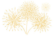 Festive New Year's Golden Fireworks Isolated On A White Background. Vector Illustration