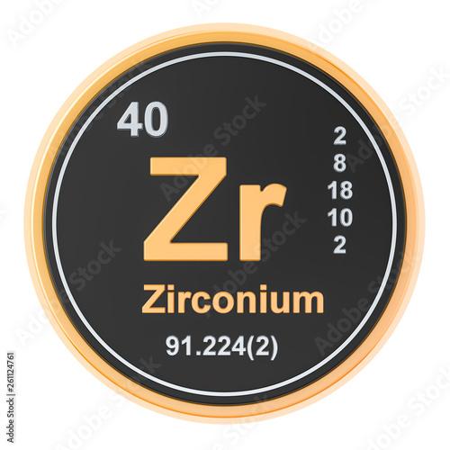 Valokuva  Zirconium Zr chemical element. 3D rendering