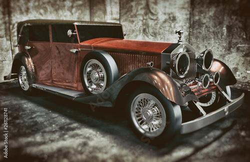 vintage car on a soft focus background