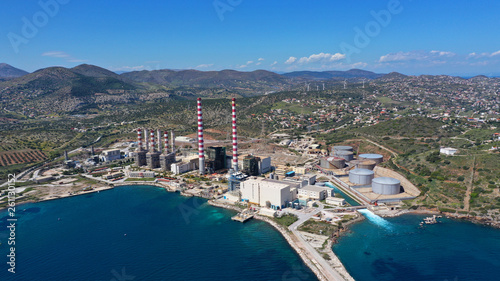 Photo sur Aluminium Bleu nuit Aerial drone photo of industrial power plant in area of Lavrio, South Attica, Greece