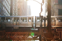 Close Up Of Metro Train Cars In Chicago