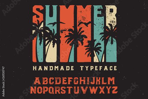 Obraz Summer. Retro font. Bold handmade font. Retro color. Sport and surf. Summer print on shirt. - fototapety do salonu