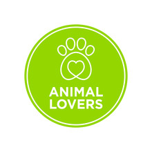 Animal Lovers Icon. Green Round Icon.
