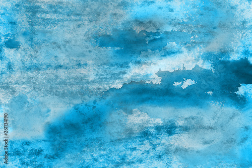 Canvas Prints Countryside Blue watercolor paper textures on white background. Chaotic abstract organic design.