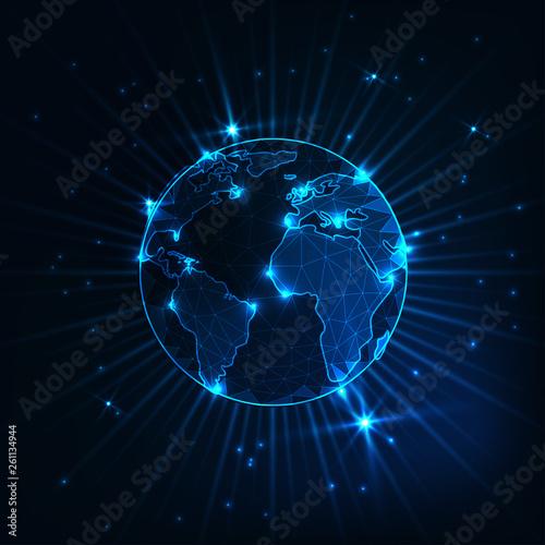Fototapeta Futuristic glowing low polygonal planet earth globe with stars and rays on dark blue background. obraz