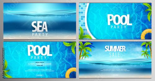 Foto auf Gartenposter Turkis Summer posters. Sea, pool and summer party. Vector illustration with deep underwater ocean scene.