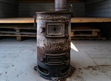 Old Rusty Coal Stove For Railway Car Heating