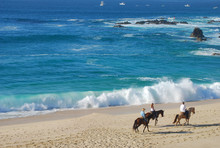 Tour With Three Horses On Beach With A Beautiful Waves
