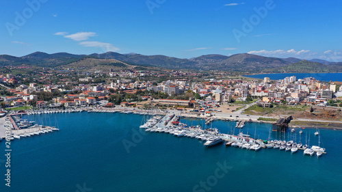 Foto op Plexiglas Mediterraans Europa Aerial drone photo of famous port of Lavrio in South Attica where passenger ships travel to popular Aegean destinations, Greece