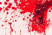Fresh Human Bright Red Blood On Floor.
