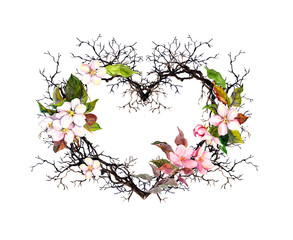 Fototapeta Romantyczny Heart shape. Branches, apple blossom, sakura flowers. Watercolor floral wreath for wedding, spring card