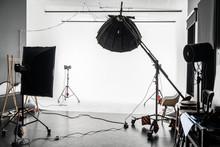 Empty Photo Studio With White ...