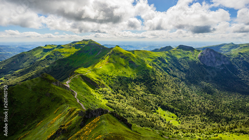 Panoramic landscape of volcanic mountains Canvas Print