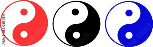 Obraz na plátně  Yin Yang Symbols multicolored set icon