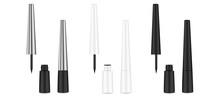 Eyeliner. Liquid 3d Liner. Cosmetics Template. Female Cosmetic Tube.