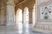 New Delhi, India, Mar 30 2019 - Tourists Stroll Around The Divan-i-Khas And Khas Mahal, Red Fort Complex, Old Delhi, Delhi, India